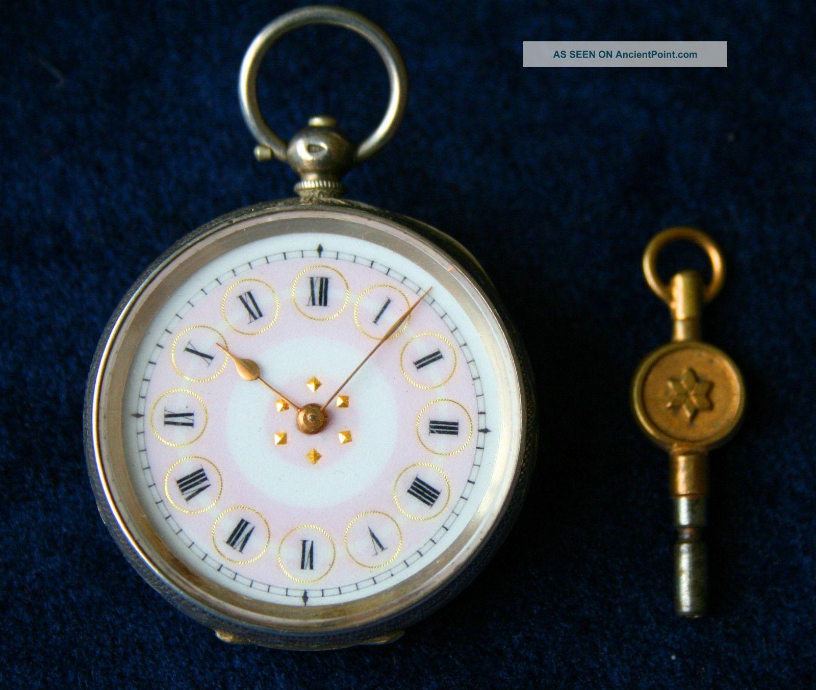 Ladies Silver Watch - Swiss Hallmarks C.  1890 ' S Working, Pocket Watches/ Chains/ Fobs photo