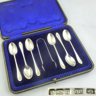 Set 6 Six Antique Cased Solid Silver Tea Spoons 1909 Hallmarked Sterling Nr photo