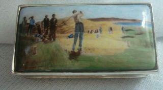 . 925 Sterling Silver Golf Snuff Box Enamel Golfing Scene photo