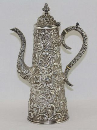 Antique S.  Kirk & Sons Sterling Silver Repousse Chocolate Coffee Tea Pot Rare photo