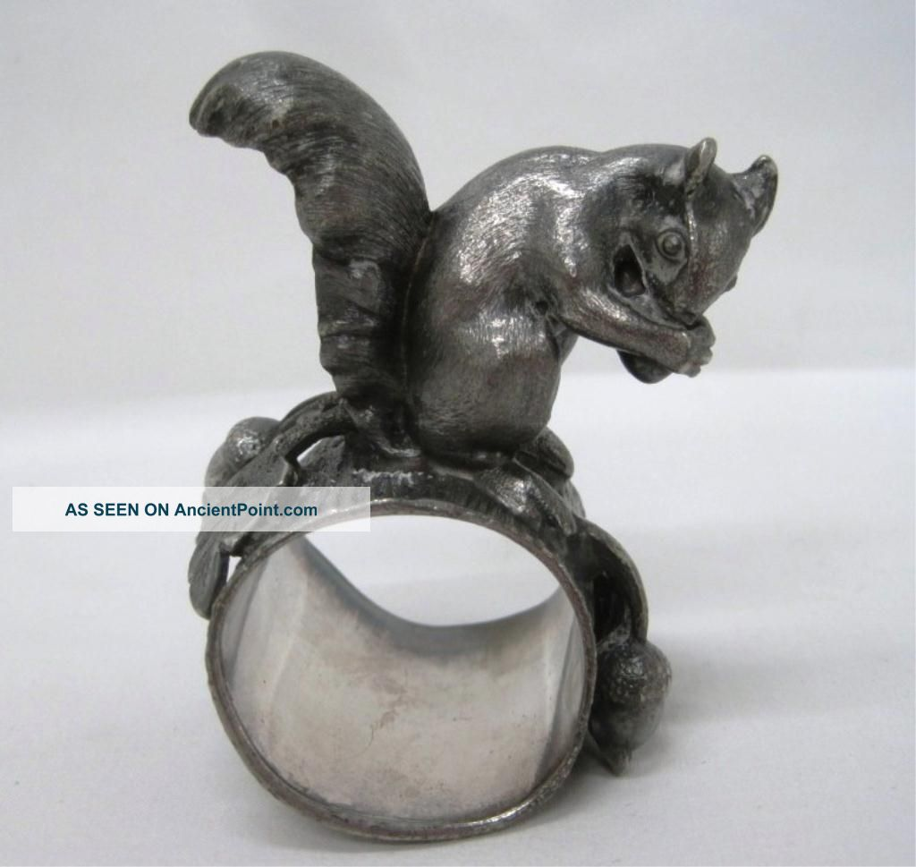 Rare Antique Figural Squirrel Nut Acorn Napkin Ring Holder Silverplate Napkin Rings & Clips photo
