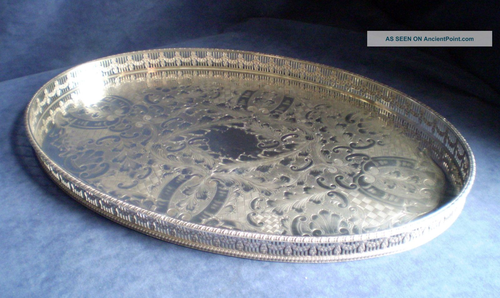 Large 46cm Silver Plated Georgian Style Gallery Tray By Viners Platters & Trays photo