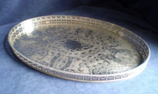 Large 46cm Silver Plated Georgian Style Gallery Tray By Viners photo