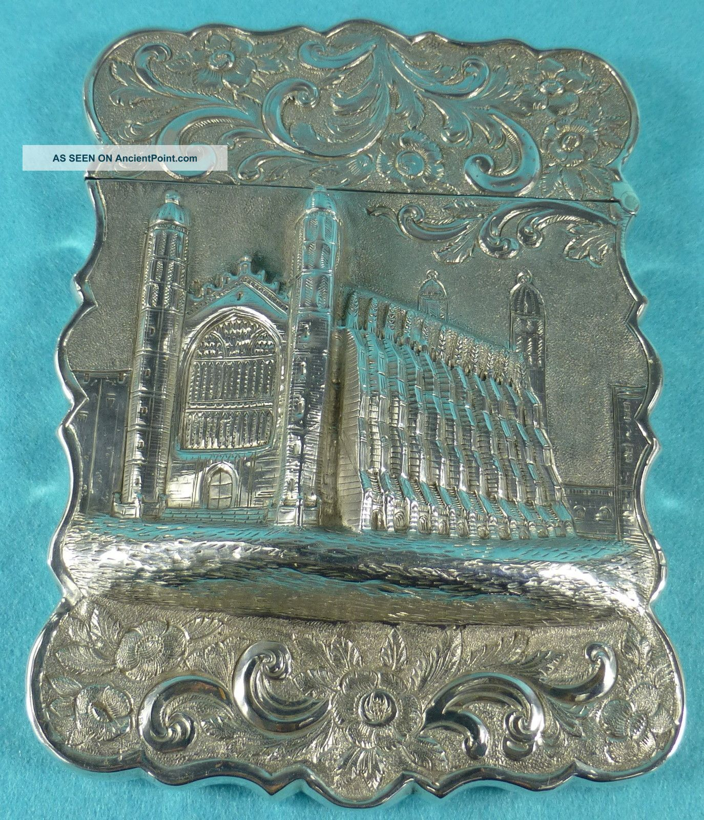 Very Rare Sterling Silver Castletop Card Case Kings College Cambridge 1858 Card Cases photo