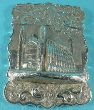 Very Rare Sterling Silver Castletop Card Case Kings College Cambridge 1858 photo
