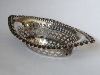 Antique - Edwardian - Solid Silver - Ornate Pierced Bon Bon Dish - B ' Ham - Circa 1905 photo