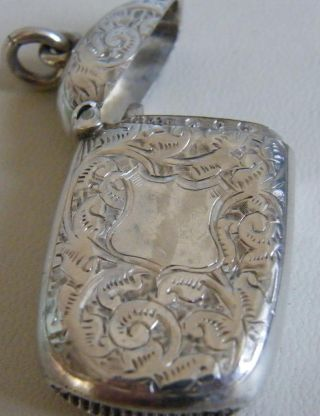 Antique Solid Silver Vesta Case Match Safe Case - Circa 1895 Chatlaine Fob photo
