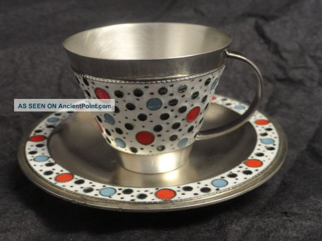 Antique Russian Silver 91 Cloisonne Enamel Cup & Saucer,  Circa 1930,  Soviet Era Russia photo