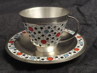Antique Russian Silver 91 Cloisonne Enamel Cup & Saucer,  Circa 1930,  Soviet Era photo