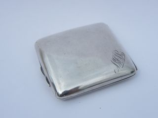 Solid Silver 107g Cigarette Case Hm Birmingham 1936 Barclays Bank Cardiff Docks photo