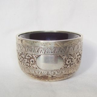 Antique 1884 Silver Salt Dish,  George Maudsley Jackson,  London,  46.  6 Grams photo
