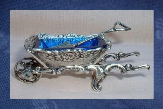 Antique Novelty Silver Wheelbarrow Table Salt & Spoon – Blue Glass Liner photo