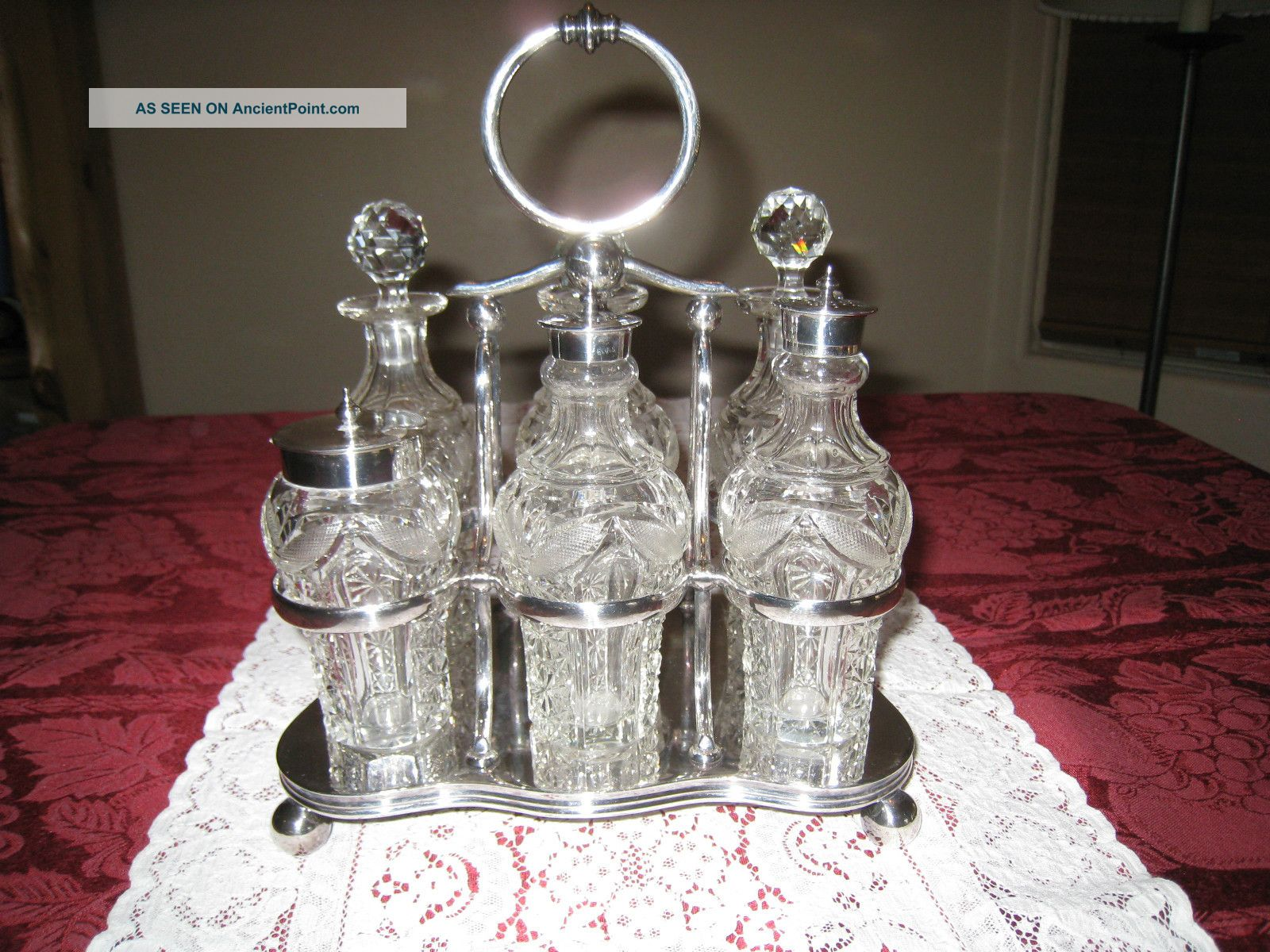 I.  S.  Greenberg England Victorian Brilliant Cut Glass 6 Bottle Cruet Set Other photo