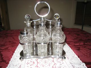 I.  S.  Greenberg England Victorian Brilliant Cut Glass 6 Bottle Cruet Set photo