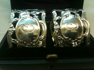 Antique Pair Of Solid Silver Napkin Rings In Box Ref1714/1 photo
