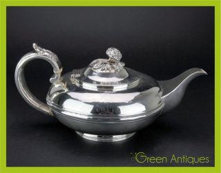 Antique 19thc Georgian Solid Silver Teapot,  Charles Thomas Fox,  London C.  1827 photo