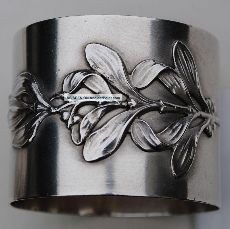 Antique Art Nouveau French Silver 3D Grape Napkin Ring