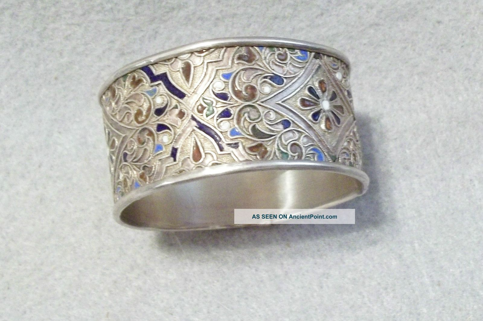 Vintage Russian 84 Silver And Enamel Napkin Ring Russia photo