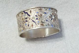 Vintage Russian 84 Silver And Enamel Napkin Ring photo