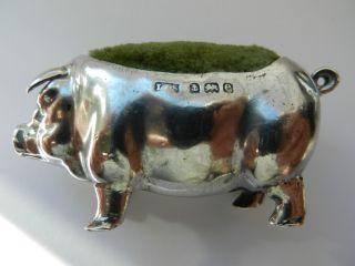 Antique Silver Pig Pin Cushion photo