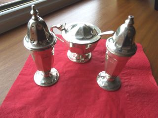 Solid Silver 3 Piece Cruet Set Sheffield 1959/60 By Edward Viner. photo