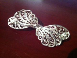 Solid Silver Bow Marcasite Lattice Work Brooch Or Pin Silver photo
