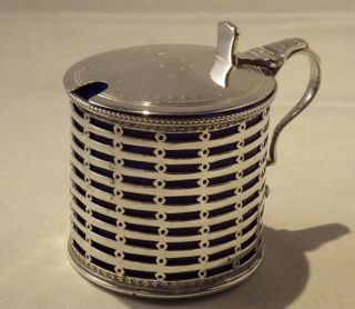 Large Edwardian Silver Mustard Pot & Liner - London - 1902 - Daniel And John Wellby photo