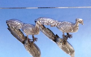 Pair Of Solid Silver Pheasants photo