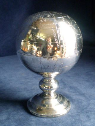 Chinese Silver Plated World Globe Pedestal Tea Caddy C1900 photo