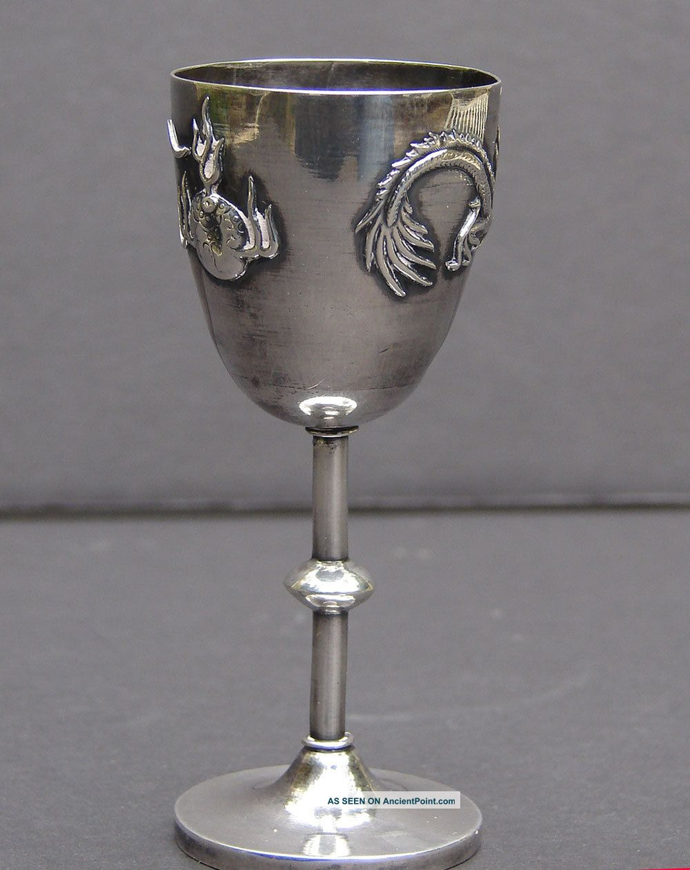 Antique Chinese Dragon Goblet Signed Asia photo