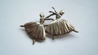 Vintage Heavy Sterling Silver Double Ballerina Dancer Brooch photo