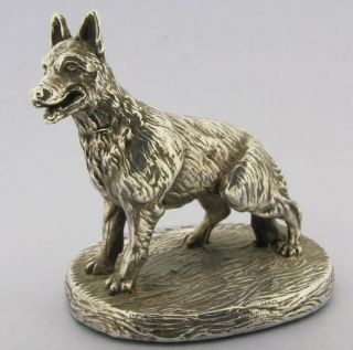 Estate Vintage English Sterling Silver Statue Of German Sheppard Dog N/r photo