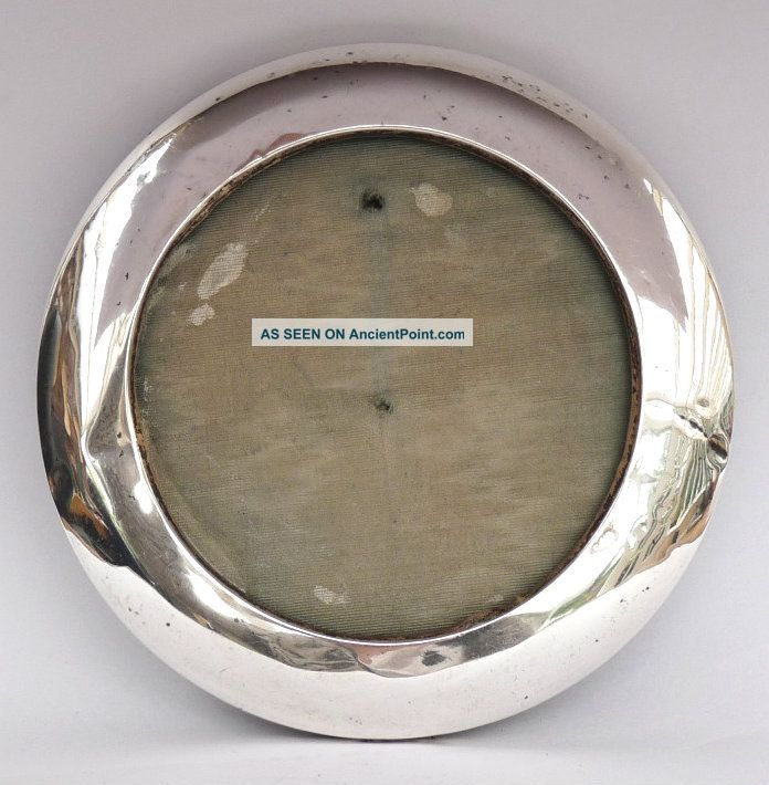 Antique Solid Silver Round Circular Photograph Picture Frame C1910 Frames photo