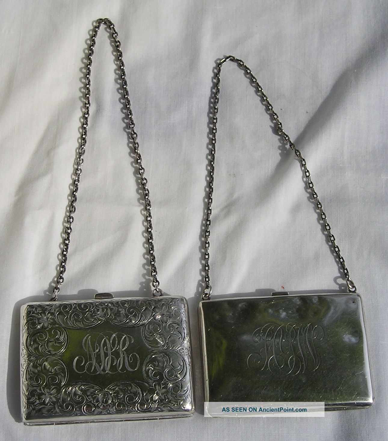 Two Antique Sterling Silver Chained Purse Card Cases Card Cases photo