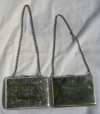 Two Antique Sterling Silver Chained Purse Card Cases photo