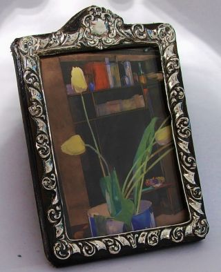 Antique Repousse Solid Silver Photo Photograph Picture Frame,  1904 photo