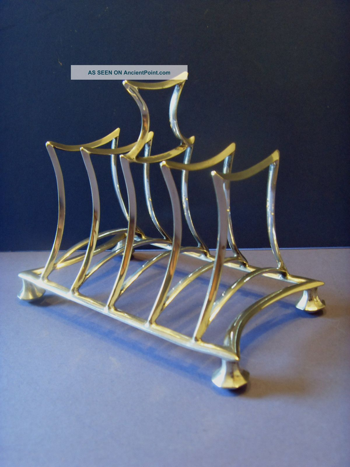 Early Vintage Silver Plated [e.  P.  N.  S] Four Piece Toast Rack. Other photo