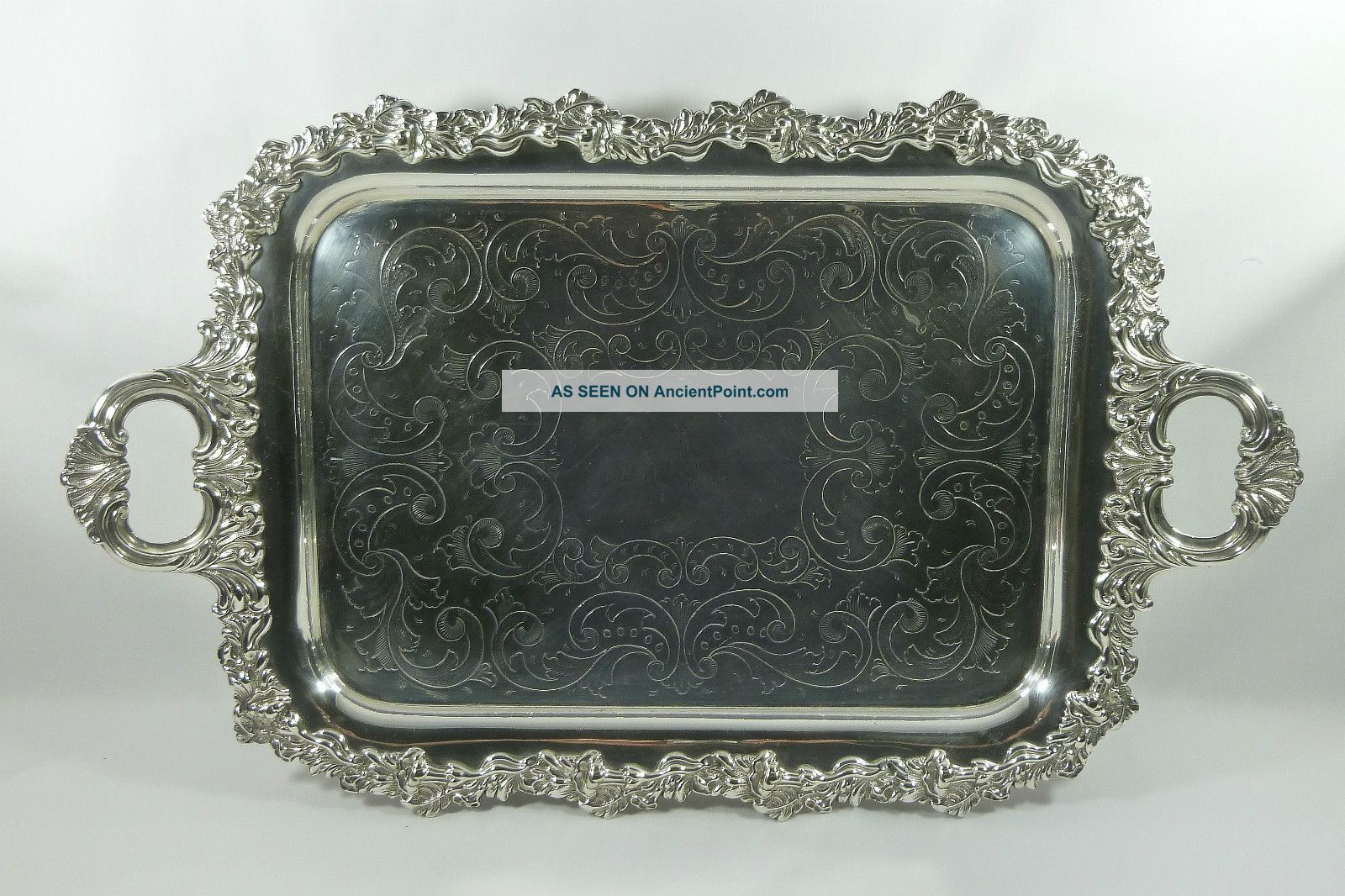 Fine Quality Large Antique Silver Plate Serving Platter Butlers Tray. Platters & Trays photo