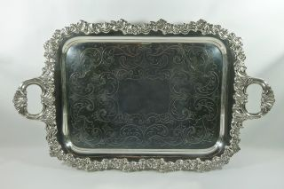 Fine Quality Large Antique Silver Plate Serving Platter Butlers Tray. photo