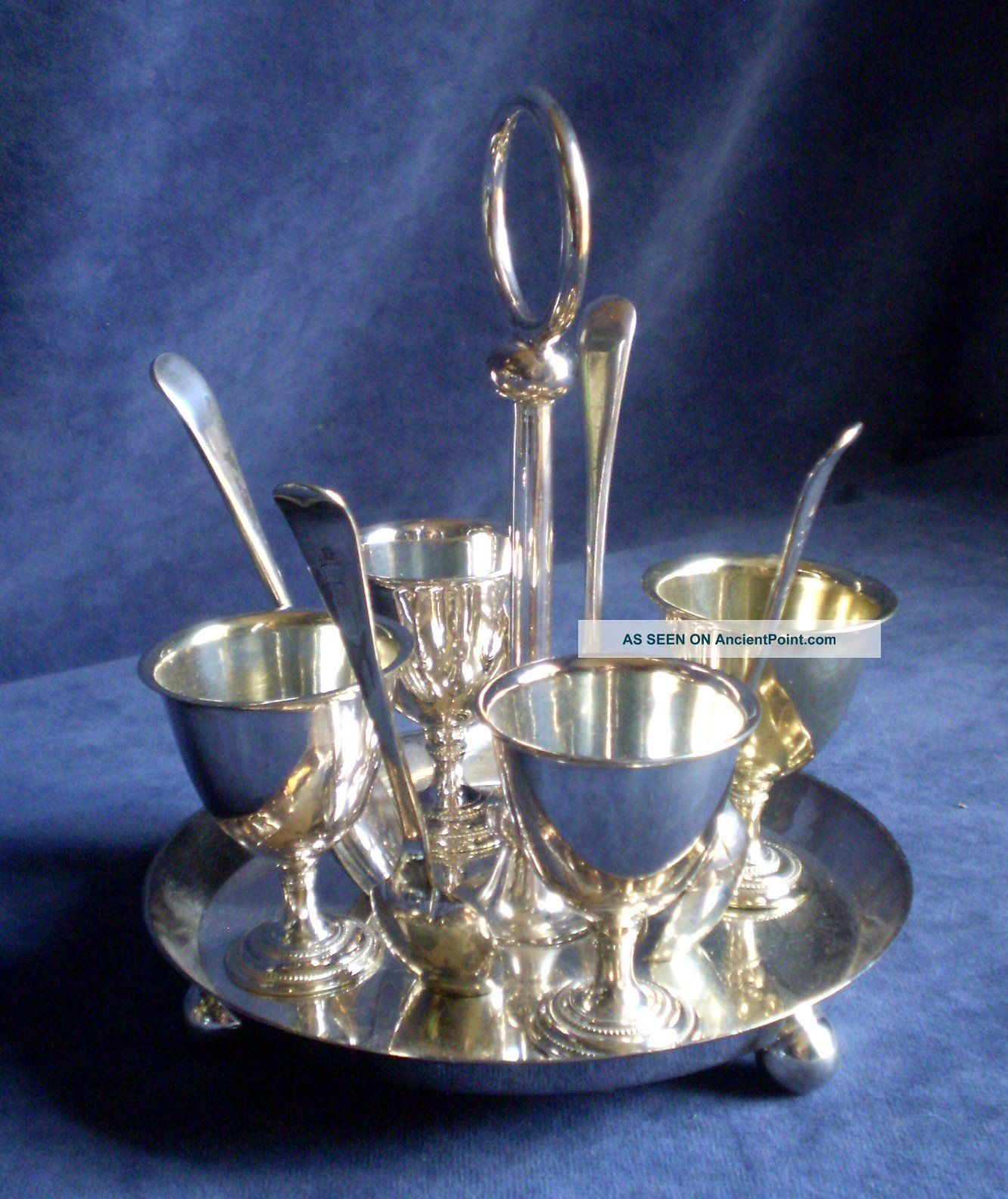 Antique English Nine Piece Silver Plated Egg Set C1920 Cups & Goblets photo
