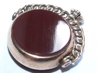 1897 Victorian Solid 9ct Gold & Agate Set Spinning Fob / Pendant photo