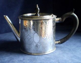 Silver Plated Hand Engraved Georgian Barrel Teapot C1825 photo