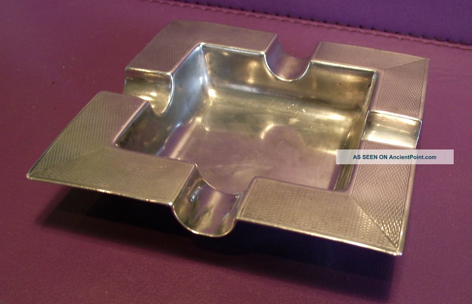 Art Deco Style Solid Silver Ash Tray With Full India Calcutta Hallmarks Ash Trays photo