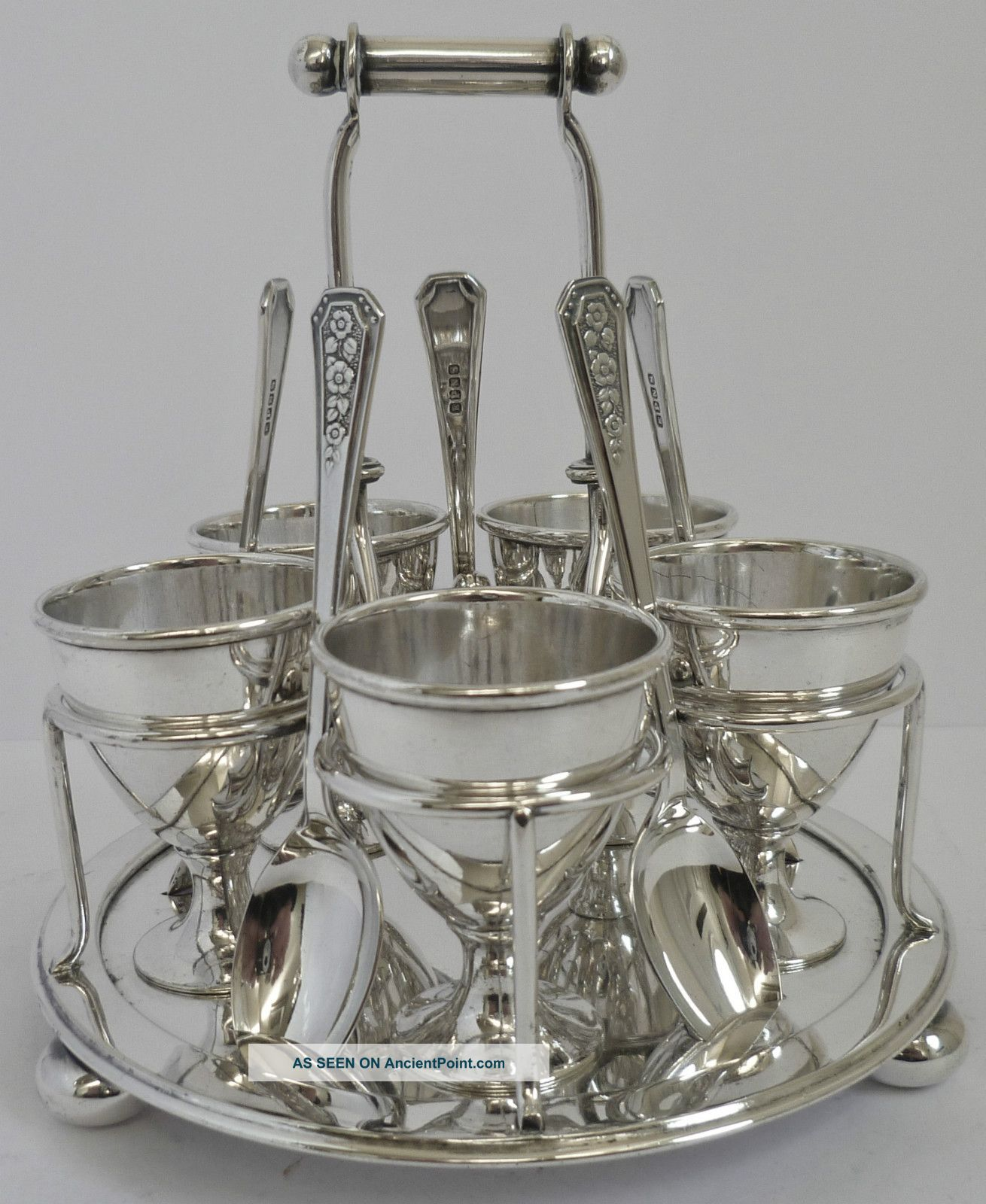 Silver Plated Egg Cup Set C1865 - 1893 Horace Woodward & Co Cruet Holder Cups & Goblets photo