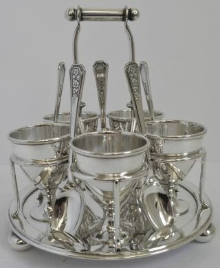 Silver Plated Egg Cup Set C1865 - 1893 Horace Woodward & Co Cruet Holder photo