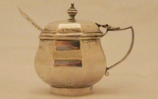 Solid Silver Hallmarked 925 Art Nouveau Mustard Pot Dated 1903 photo