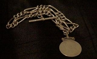 Solid Silver Hallmarked 925 Fob Watch Chain Great Quality Must See photo