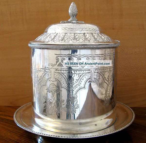 Antique Victorian Silver Plate Repousse Chased Biscuit Barrel Box - Nr Platters & Trays photo