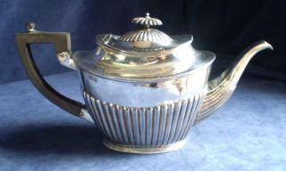 Good Large Silver Plated Queen Anne Style Fluted Teapot C1875 photo