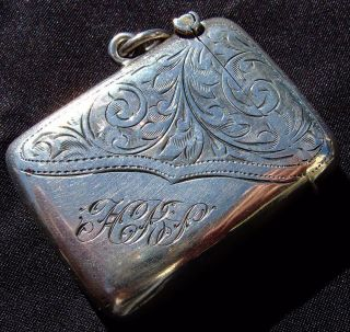 Antique Sterling Silver Match Case Vesta photo